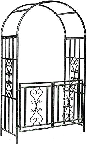 Gr8 Garden Patio Large Black Metal Rose Arch With Gate Wedding Archway Ornament Arbour Pergola For Climbing Plants Trellis Support
