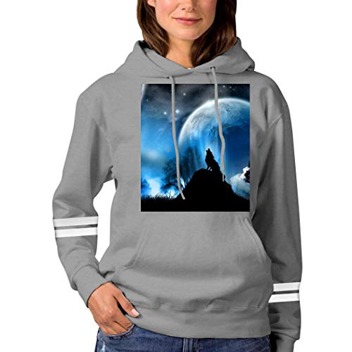 A Wolf in The Moonlight Sweatshirt 3D Print Hooded Sweatshirt Funny Pullover Tops Fall Winter for Women Gray S
