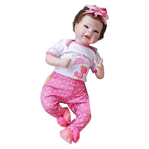 Joocyee - Muñeca Realista de 55 cm para niños pequeños, Juguete Realista para niñas, Diadema con Lazo, cumpleaños, simulación, muñeca de Cuerpo de Tela de 55 cm, como se Muestra