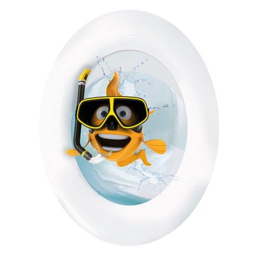 Wandkings Goldfisch mit Taucherbrille, WC Deckel Aufkleber Sticker, 30 x 40 cm
