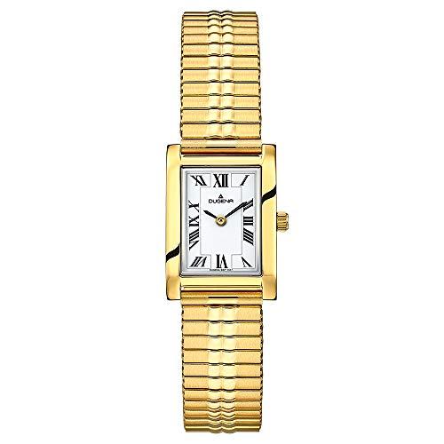 DUGENA QUADRA Comfort Damen-Armbanduhr, Quarz, Edelstahlgehäuse, Mineralglas, Edelstahl-Zugband, 3 bar (Gold)