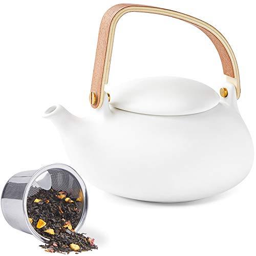 ZENS Teekanne Porzellan Weiß, Japanische kanne mit Sieb für Losen Tee, 800ml Matt Chinesisch Klein Teapot mit Modern Bugholz Griff für Zwei Personen