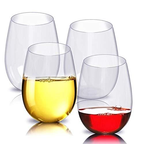 JIAOAO 16 vasos de vino irrompibles irrompibles de plástico seguro reutilizable taza de cerveza