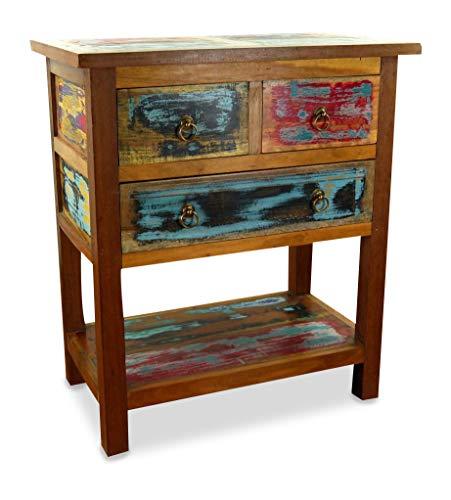 livasia Teakholz Kommode aus Java | Sideboard | Recyceltes buntes Bootsholz | Asiatisches Highboard | Designer Möbel aus Bootsholz | Massivholzkommode der Marke Asia Wohnstudio