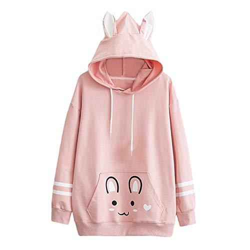 Sweatshirt Long Hoodie Femme Hiver Kawaii Lapin Pullover Sweats à Capuche Chic Ample De Sport A Manche Longue pour Loisirs Tops Blouse (S(EU34), Rose)