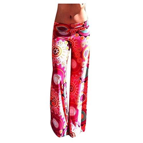 Justwide Pantalones Sueltos De Entrepierna para Hombres Y Mujeres Pantalones De Yoga con Mono Estampado Retro(Rojo,L)
