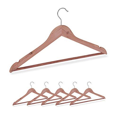 Relaxdays Kleiderbügel Zedernholz, 6 Stück, Mottenschutz im Kleiderschrank, edles Design, eingekerbt, B: 44 cm, Natur