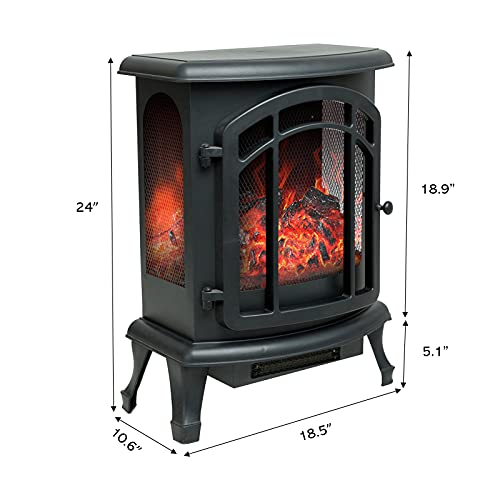Product Image 5: Helios&Hestia 24″ Tall Electric Wood Stove Fireplace with Flame Effect, Freestanding Portable Indoor Space Heater with Remote