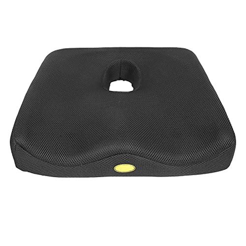 Almofada para assentos de espuma com memória, almofada não rechonchuda respirável removível e lavável para cadeira de carro de escritório(Mais espesso: preto)