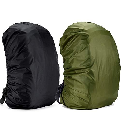 Yogopro Funda Impermeable para Mochila,2 Pcs Cubre Mochila Lluvia,30~65L Cubierta de Bolsa Bolso Protector de Lluvia para Camping Senderismo Excursionismo, 30L-40L (Negro y Verde)