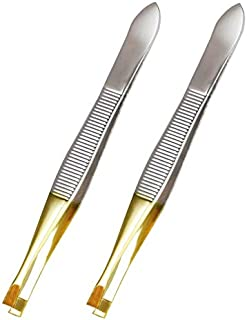 Luxxii (2 Pack) Flat Tweezers - Gold Tone Stainless Steel Flat Tip Tweezers Hair Plucker for Hair and Eyebrows Personal Ca...