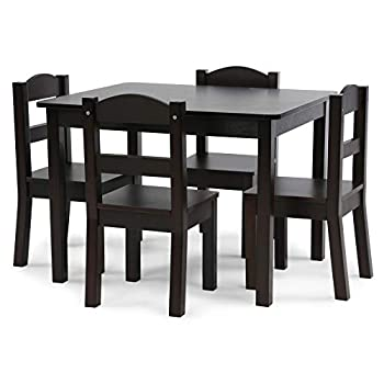 Humble Crew Espresso Kids Wood Table and 4 Chairs Set 5-Piece