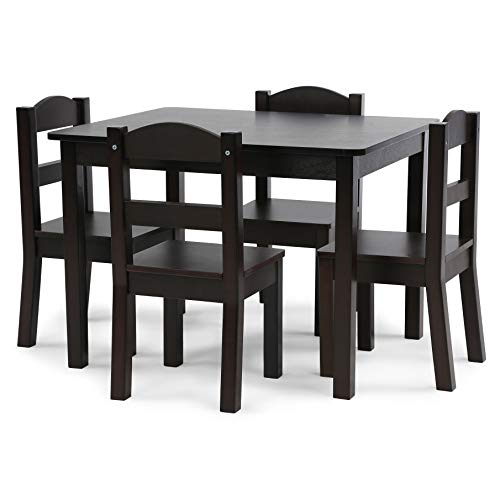 Humble Crew, Espresso Kids Wood Table and 4 Chairs Set, 5-Piece