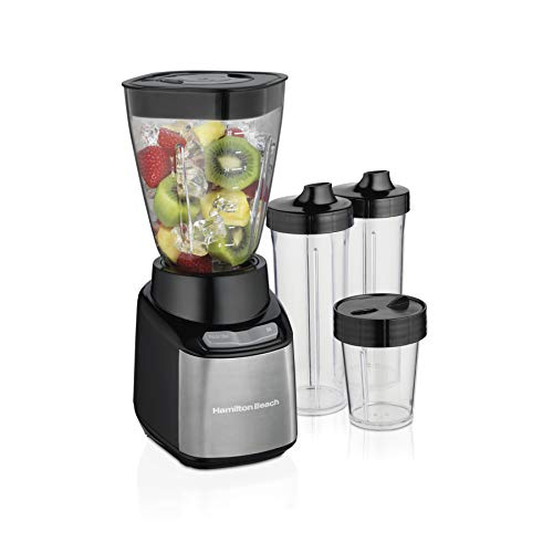 Hamilton Beach Stay or Go Blender with 32oz Jar, 8oz Grinder for Nuts & Spices, and 2 Portable Cups with Drinking Lids for Shakes and Smoothies, BPA Free, Black and Silver (52400)