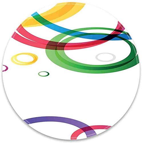 Ronde muismat met abstracte levendige ringen op witte achtergrond in abstracte manier feestelijke kleuren patroon wit smaragd