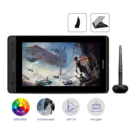 """HUION KAMVAS Pro 12 Monitor de Dibujo gráfico, 11.6"""" Tableta Gráfica con Pantalla, lápiz sin Batería con Función de Inclinación, 120% sRGB Panel de Vidrio Antideslumbrante Laminado Completo (GT-116)"""
