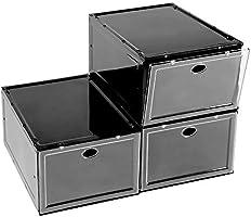 BYFU - Organizador de zapatos apilable, 3 unidades, caja de plástico para el almacenamiento de zapatos, caja de zapatos...