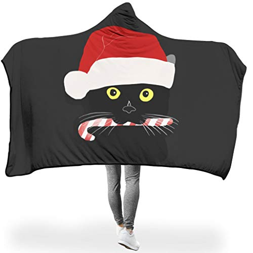 AbnoeruNVsb Cat Candy Thermal Colorless Hoodie Wearable Super Soft Throw Blanket Adult Women Men for Room in Winter Warm Style Christmas Style White 60x80 inch