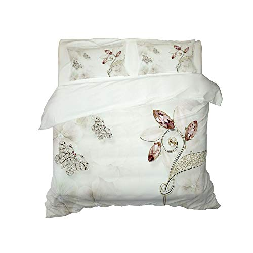 HJKGSX Duvet Cover Set Bedding 3 Pieces Microfiber Polyester Quilt Cover with 2 Pillow Cases Easy Care Anti Allergic Soft Smooth White leaf butterfly55 x 78.7inch - Single