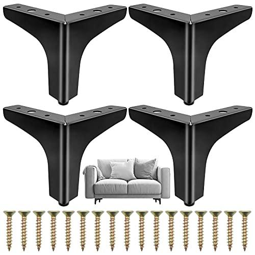 Cisolen 4 pezzi Gambe per Mobili in Metallico Piedi per Mobili Triangolari per Divano, Tavolino, Sedie, Piedini per Mobile (10 cm)