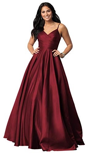 Women's Spaghetti Strap V Neck A Line Long Satin Evening Ball Gown Ruched Bodice Prom Formal Dress Burgundy Size 4