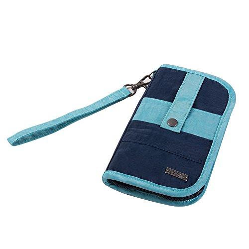 Portafoglio da Viaggio per Passaporto, GOX Premium Lavabile di Nylon Portatile Multi-funzionale Impermeabile Cellulare Portafoglio / Sacchetto / Borsa / Tasca Denaro / con il Supporto di slot per Card (Large, Blu)