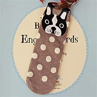 CYMTZ, 5 Pares/Paquete Calcetines De Mujer Oreja Serie De Animales De Dibujos Animados Perro Lindo Estilo Harajuku Calcetines Divertidos