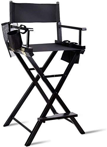 GTON Regiestuhl Klappstuhl Holz Make Up Stuhl Faltbar Direktor Chair Schminkstuhl mit Seitentaschen Schwarz für Studio Make-up-Artists Regisseur bei Filmen usw.