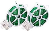 Pack 2 Alambre de Jardín Recubierto de Plástico 100Metros/ Alambre de Jardín/Alambre Plastificado/Cuerda de Alambre Plastificado para Jardinería Hogar y Oficina 2 Rollos 50m Cada Rollo (Verde Claro)