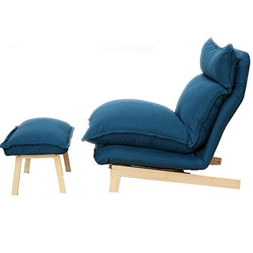 Silla de Placa de Ocio, reposacabezas Ajustable y Espalda en Varios ángulos, reclinable Plegable Multifuncional, Adecuado para balcón/Dormitorio/Lectura,Dark Blue