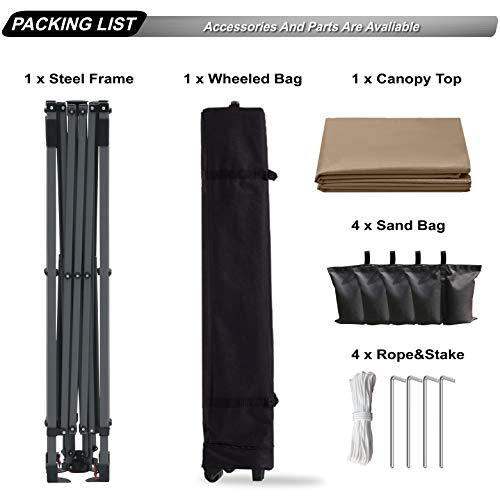ABCCANOPYタープテントワンタッチアウトドアタープテント3m/2.5m/2m遮熱大型テントシェード3段階調節日除け高強度スチールフレームキャスターバッグ付き組立簡単高耐水圧付属品付き