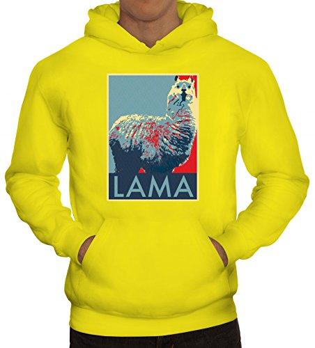 Lama Graffiti Hoodie im Schablonen Streetart Style für Lama Alpaka Freunde, Größe: 3XL,gelb