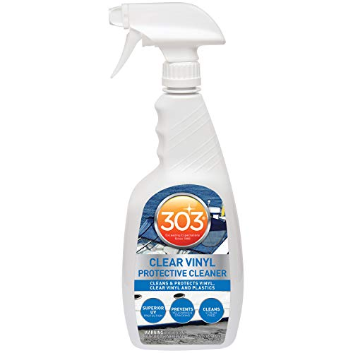303 Marine Clear Vinyl Protective Cleaner - Cleans And Protects Vinyl, Clear Vinyl, And Plastics - Superior UV Protection - Prevents Yellowing And Cracking - Streak Free Cleaning, 32 fl. oz. (30215)