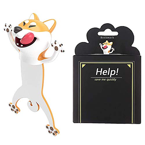 Wacky 3D Cartoon Animal Bookmarks Personalized Funny Bookmark, Book Marks for Kids (Dog)