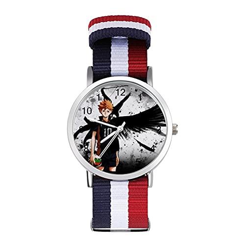HaikyuuTrenzado Reloj de banda con escala de moda ajustable para negocios, banda de impresión a color, adecuado tanto para hombres como para mujeres