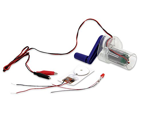 Betzold 83305 - Hand-Dynamo, einfache Stromerzeugung, inkl. Summer, LED, Kabel mit Krokodilklemmen - Kinder Schüler Unterricht Physik Schule Experimente Strom Experimente experimentieren