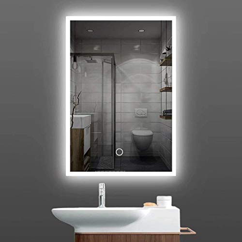 Specchio da bagno a LED, 60 x 80 cm, con bordi illuminati, luce per il trucco, con interruttore touch a tre colori dimmerabile, da parete (18 W)