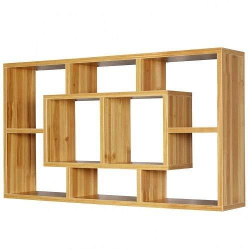 Wohnling Wandregal Paola buche 85 x 47,5 x 16 cm MDF-Holz Hängeregal modern | Design Wandboard freischwebend | Holzregal offen zum Hängen