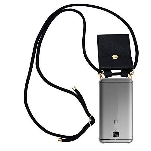 Cadorabo Handy Kette für OnePlus 3 / 3T in SCHWARZ - Silikon Necklace Umhänge Hülle mit Gold Ringen, Kordel Band Schnur und abnehmbarem Etui – Schutzhülle