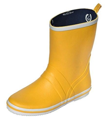MADSea Damen Herren Gummistiefel Cloud Halbschaft ungefüttert gelb Regenstiefel, Farbe:gelb, Größe:42 EU
