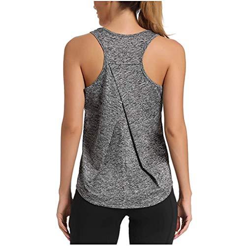 Tefamore Femmes Débardeurs Femmes, Sexy sans Manches Off-The-Shoulder Respirant Couleur Unie Racerback Fitness Yoga Jogging T Shirt Sportswear Tank Tops