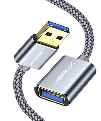 JSAXU Cavo Prolunga USB 3.0 2M, Maschio A Femmina A 5Gbps Cavo Extensione USB 3.0 USB Prolunga con Chiavetta USB, Hub USB, Disco Rigido Esterno, Tastiera, Mouse, Stampante, Videocamere - Grigio