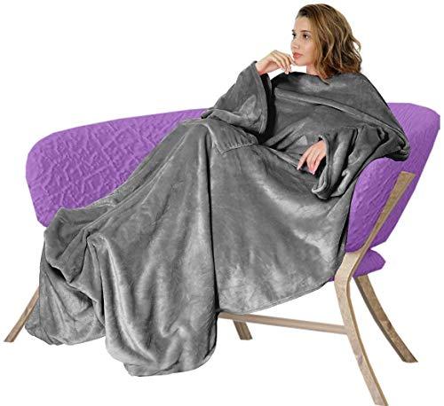 Osaloe Manta de Terciopelo Suave de 200 x 180 CM, Batamanta de Franela con Bolsillo, Manta para Cama y Sofa, Color Gris