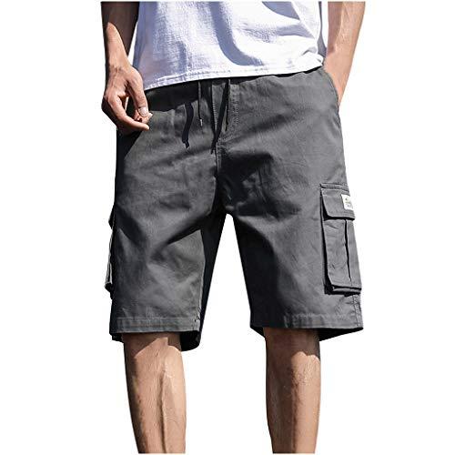 Heren zomer in de vrije natuur casual patchwork overalls plus size sport shorts broek short joggingbroek vrijetijdsbroek panty X-Large donkergrijs