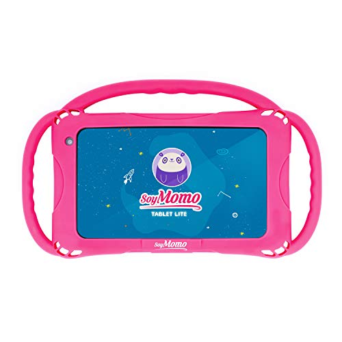 SoyMomo Tablet Lite - Tablet para niños 7 Pulgadas con Control Parental, Detección de Contenido Peligroso, 16 GB Almacenamiento, 2 GB RAM, Cámara - con Funda de Silicona Rosa