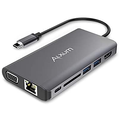 Alxum USB C Hub, 8-in-1 Type C Hub with 4K@30Hz HDMI, VGA, USB C PD 100W, 1Gbps Ethernet, 2 USB 3.0 Port Hub, Micro SD Card Reader, 3.5mm Audio Jack for Laptop and more