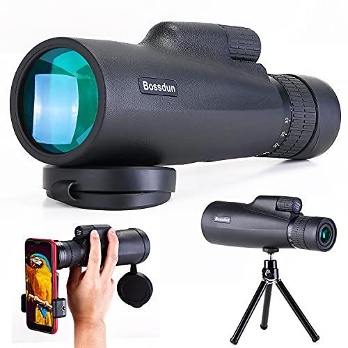 10-30x50 Monokular Teleskop für Erwachsene, Hochleistungs Zoom Monokular mit Smartphone Halter Stativ für Vogelbeobachtungs Safari Wandern Camping Sport