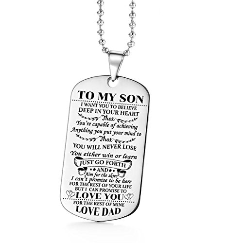 Jvvsci Dad Mom to Son Dog Tag I Want You to Believe Deep in Your Heart Inspirational Message Pendant Necklace Birthday Jewelry Gift for Boys Teen (dad to Son)