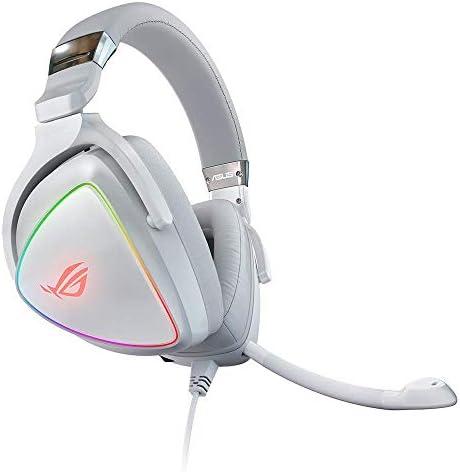 ASUS RGB Gaming Headset ROG Delta White Hi Res ESS Quad DAC Circular RBG Lighting Effect USB product image