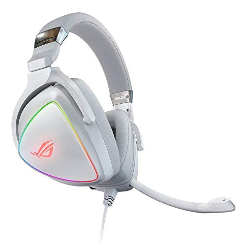 ASUS RGB Gaming Headset ROG Delta (White) | Hi-Res ESS Quad-DAC, Circular RBG Lighting Effect | USB-C Connector for PCs, Consoles, and Mobile Gaming | Gaming Headphones with Detachable Mic